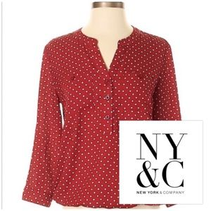 New York and Company Red and White Blouse